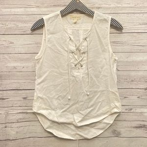 Cloth & Stone | white lace up sleeveless top